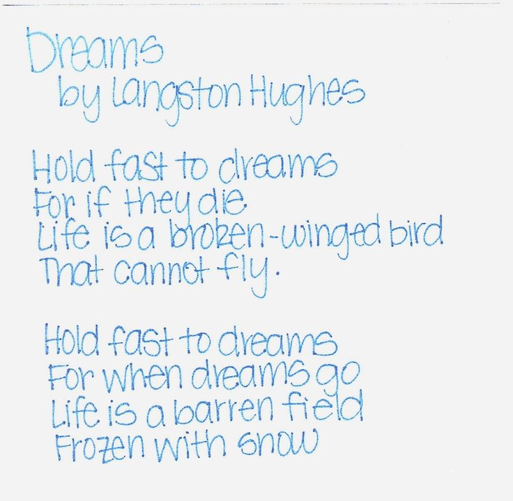 poem analysis dreams by langston hughes Langston hughes: poems study guide contains a biography of langston hughes, literature essays, quiz questions, major themes, characters, and a full summary and analysis of select poems.