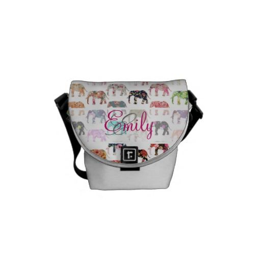 Monogram Girly Retro Floral Elephants Pattern Messenger Bags