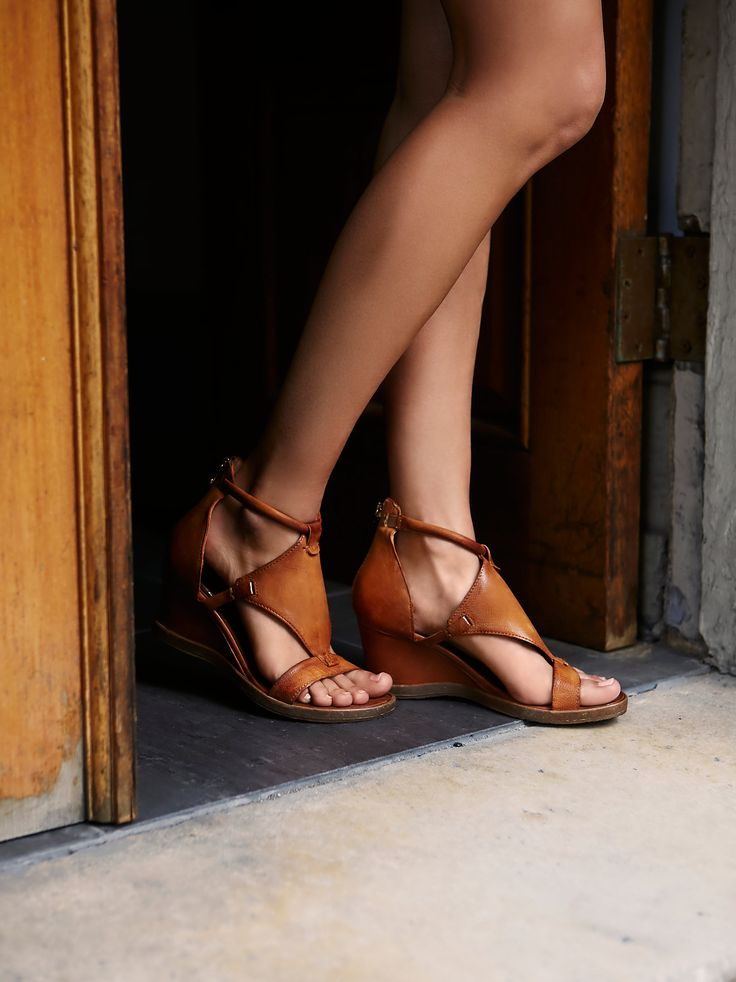 Bonita Wedge Sandal | Luxe leather wedges featuring a diamond-shaped panel on the upper. Toe and ankle strap details. Exposed back zip makes for an easy onoff.
