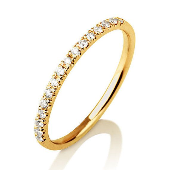 Handmade Diamond Wedding Band  Solid 14/18k Yellow by DiamondsMine, $399.00
