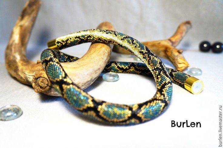 """Купить Жгут из мелкого японского бисера""""Новогвинейский водный питон"""" - комбинированный, питон, змея, змеиный принт"""