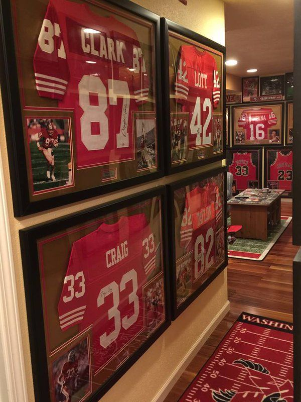 Amazing collection of signed 49ers and Bulls framed jerseys.