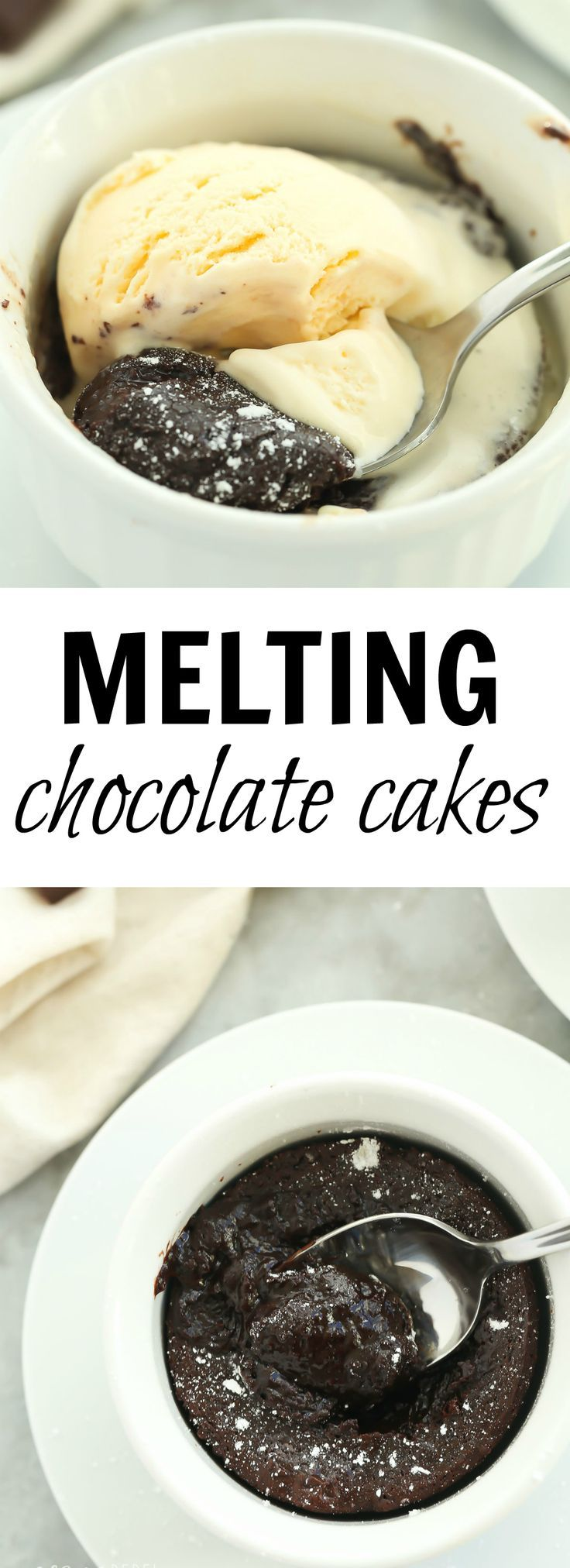 This Individual Melting Chocolate Cake is life-changing! They come together with minimal prep, can be baked or microwaved and best of all — that gooey, melty chocolate center! Don't forget the scoop of ice cream. Includes how-to recipe video | single serving | dessert recipe | easy dessert | chocolate dessert