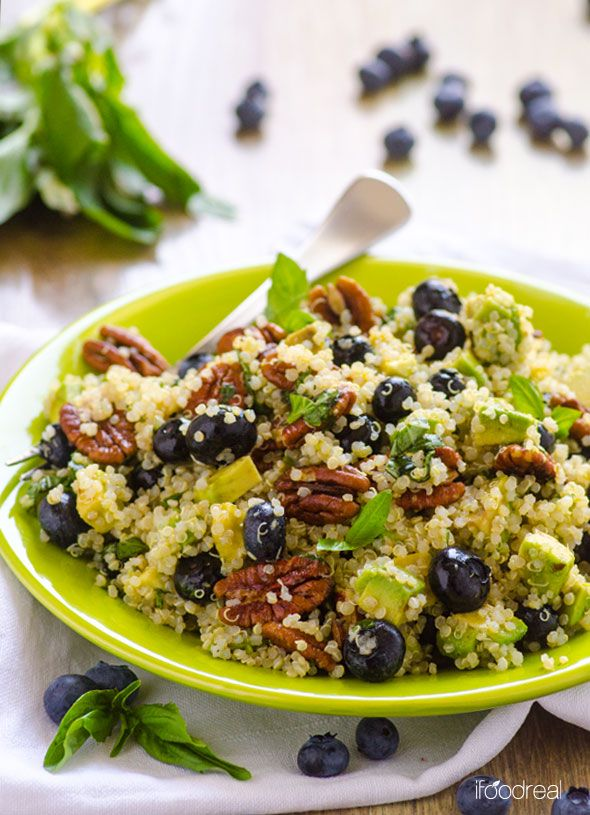 Blueberry, Avocado and Toasted Pecans Quinoa Salad with Lime Basil Dressing by ifoodreal:Healthy one meal salad which keeps well refrigerated for a few days. #Salad #Blueberry #Quinoa #Avocado #Lime #Basil #Healthy