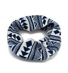 Flot tube tørklæde i boheme stil i blå farver - SW-211