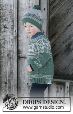Seiland Jumper - Set consists of: Jumper for kids with round yoke and multi-coloured Norwegian pattern, worked top down. Hat with multi-coloured Norwegian pattern and pompom. Size 2 - 12 years Set is knitted in DROPS Merino Extra Fine. Free knitted pattern DROPS Children 30-5