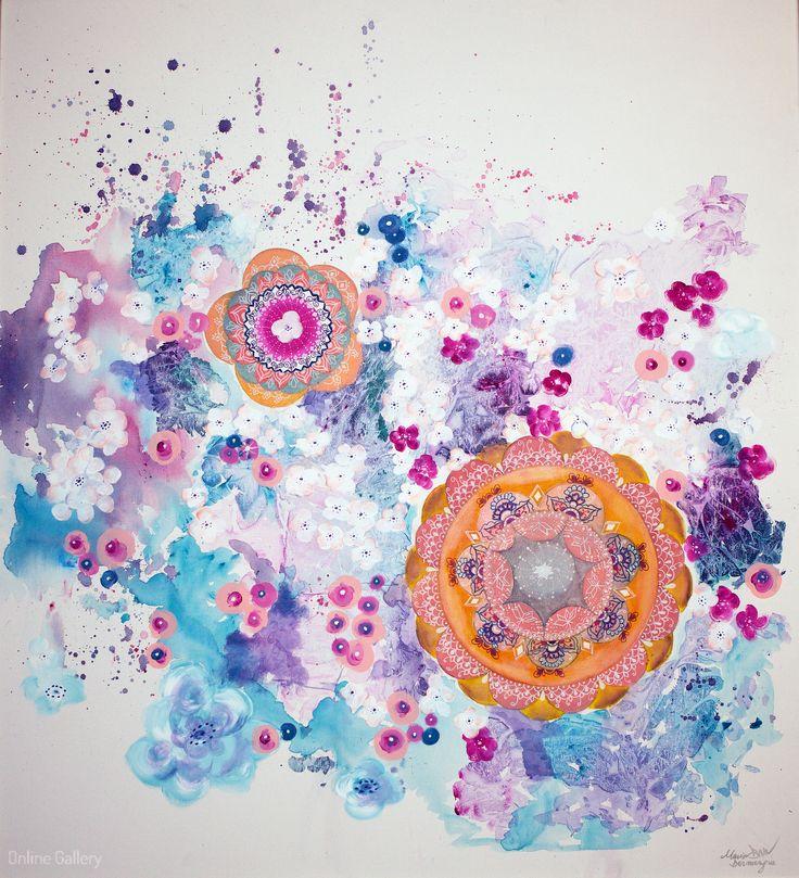 Seeds of Wisdom – pictura pe panza #painting #art by Maria Dermengiu