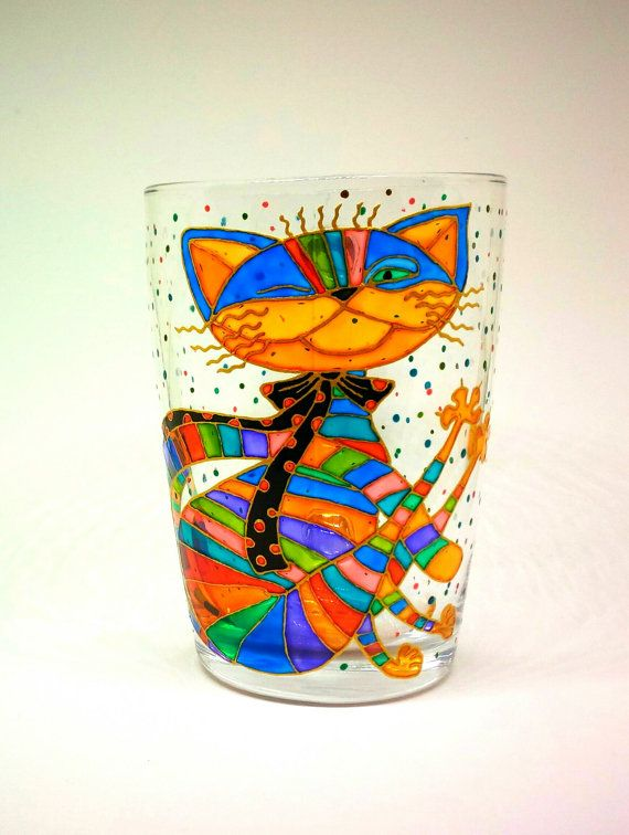 Cat Mug Hand Painted Gift Coffee Tea 73 от ArtGlassCo на Etsy