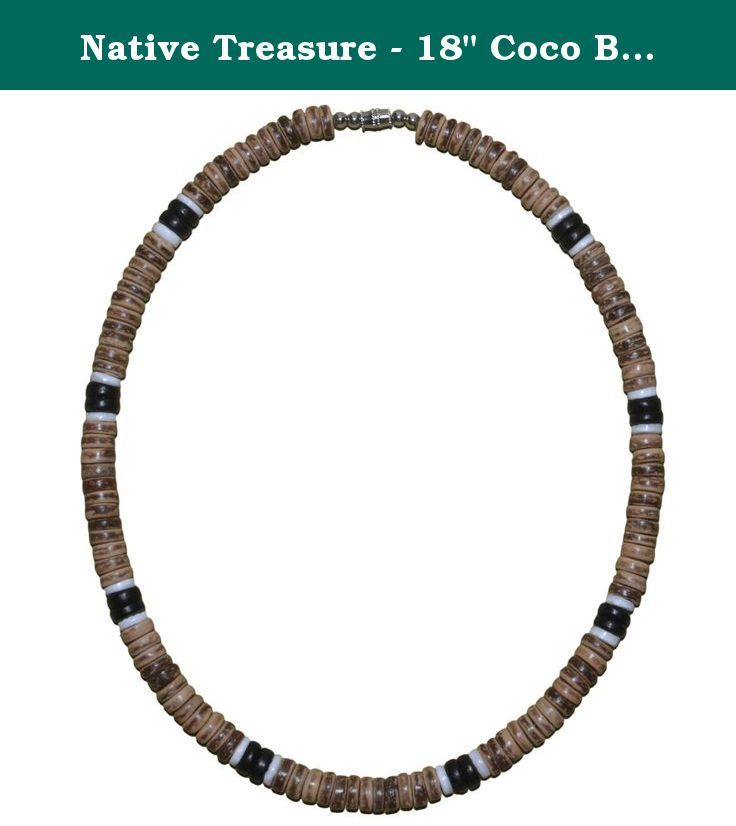 "Native Treasure - 18"" Coco Bead Necklace Brown 2 Black 2 White Puka - 8mm (5/16""). This Native Treasure Authentic Tropical Jewelry Puka Shell Necklace is Beautifully Hand-crafted in our Tropical Jewelry Shop by our own Native Island Artisans using 8mm (5/16"") Hand-Sorted Super Class 'A' Quality Shells with Brown and Black Coco Beads. (not for water use) .....It is our standard 18"" length and is ideal for Men, Women, Boys, Girls, Teens and Kids. .....Real Wood Coco Beads from Tropical…"