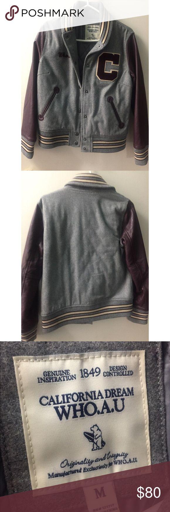 Varsity Jacket Purple & Grey Leather Varsity jacket Who. A. U Jackets & Coats Utility Jackets