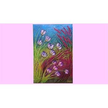 """"""" Cespugli di fiori """" Acrilico materico spatolato su tela, con applicazione di glitter, cristalli di vetro, graniglie per le decorazioni.  Colori vivaci per il quadro floreale che manifesta un movimento di tulipani e spighe colorate. Per ambienti da arricchire con colori accesi e cromatismi dinamici."""