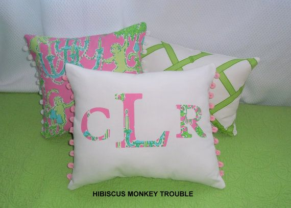 Lilly, monogram, and pom-poms! (college girl bedding lilly pulitzer)