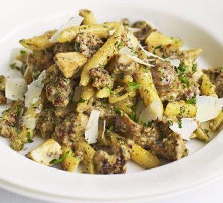 Mushroom & sausage pasta