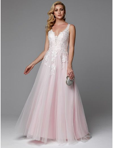 4b9c5cad69c9 ADOR Prom Dress A-Line V Neck Floor Length Lace / Tulle Beautiful Back /  See Through with Appliques / Buttons