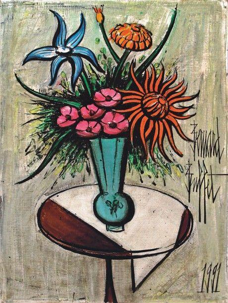 Bernard Buffet (1928-1999), Vase de fleurs sur un guéridon, huile sur toile, 81 x 60 cm. Frais compris : 162 500 €. Cannes, samedi 28 février. Cannes Enchères SVV. M. Willer.