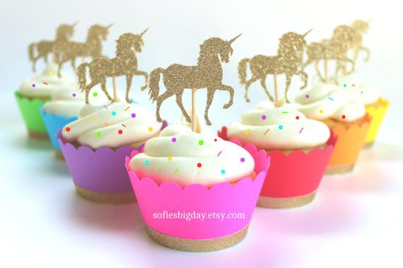 Unicorn Cupcake Wrappers & Toppers unicorn by SofiesBigDay on Etsy