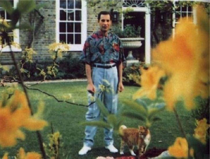 """celebrity-death-ripbird-9. Lead singer for """"Queen"""" Freddie Mercury pic taken Spring of 1991, would die Nov. 24th that same year of Bronchial Pneumonia and AIDS"""
