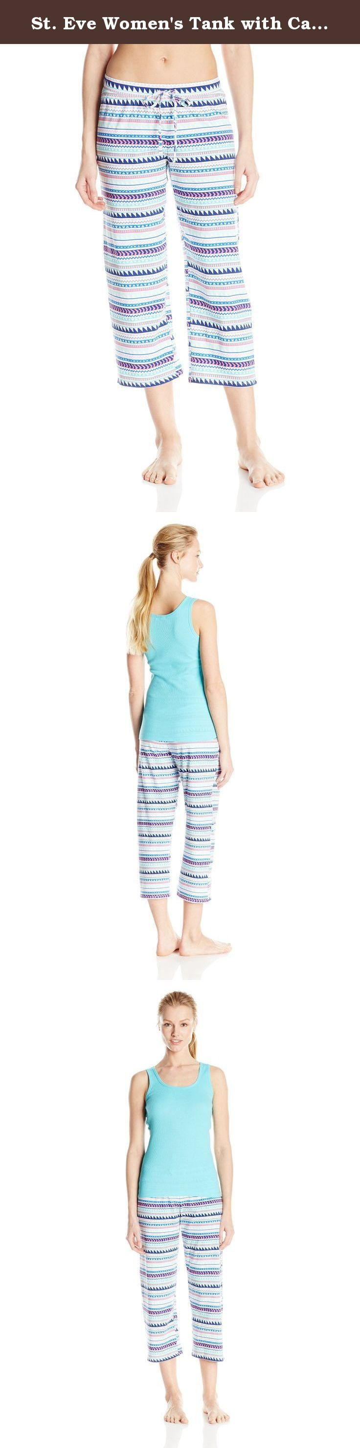 St. Eve Women's Tank with Capri Pant Pajama Set, Blue, Medium. Comfortable and colorful, the St eve tank and capri pajama set is perfect from day to night.