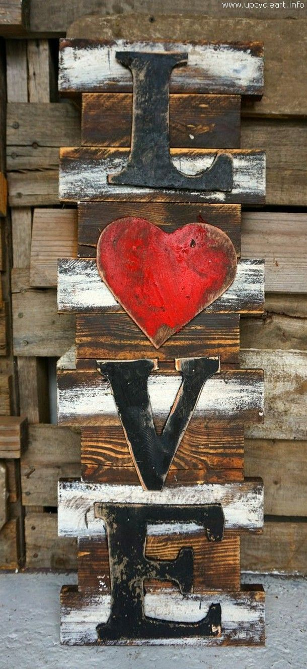 pallet wall love art                                                                                                                                                     More