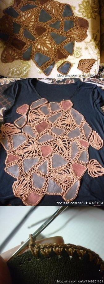 Как соединить кожу(или ткань) и вязание. Модели из кожи, обвязанные крючком. Мини мастер-класс в фотографиях | Для сада и огорода | Постила