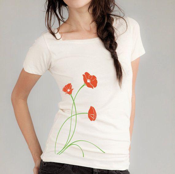 Poppies Print Women's TShirt from Banyan Tree Clothing $24.00 | Organic cotton, low-impact dyes.