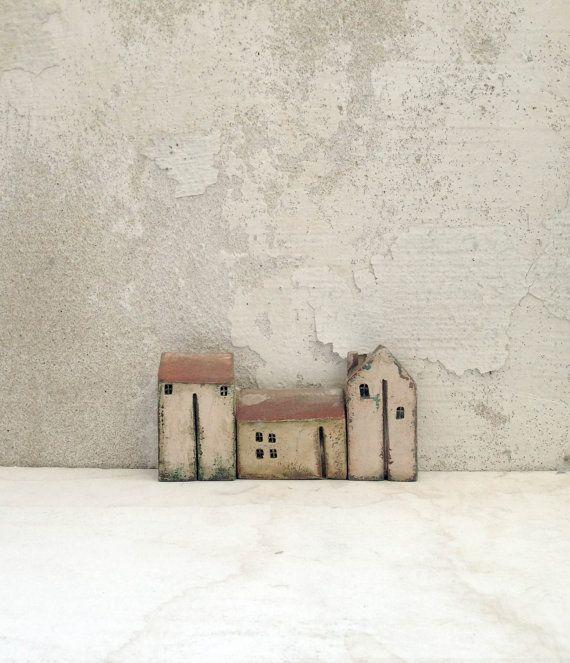 Ceramic houses set houses miniature houses home by VesnaGusmanArt / inspiration for small constructions.