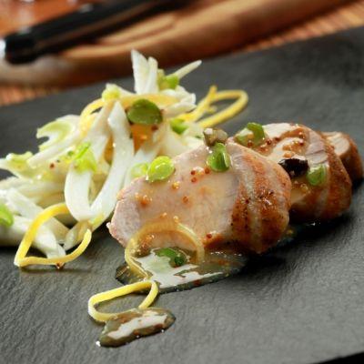 Χοιρινό φιλέτο (ψαρονέφρι) σχάρας λεμονάτο με φινόκιο και μουστάρδα