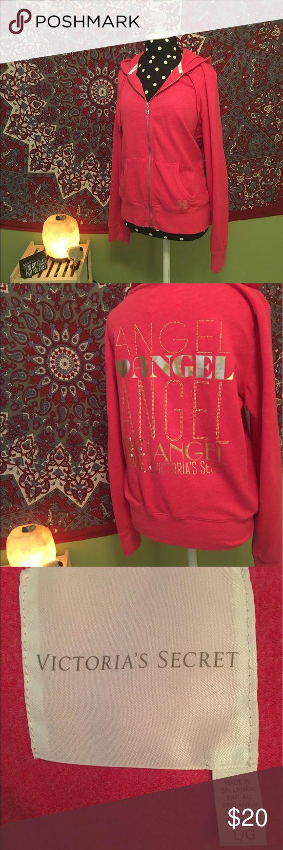 VS Pink Angel Zip Up Hoodie Size Large VS Pink Angel Zip Up Hoodie with Gold Sequin & Lettering Size Large Victoria's Secret Tops Sweatshirts & Hoodies