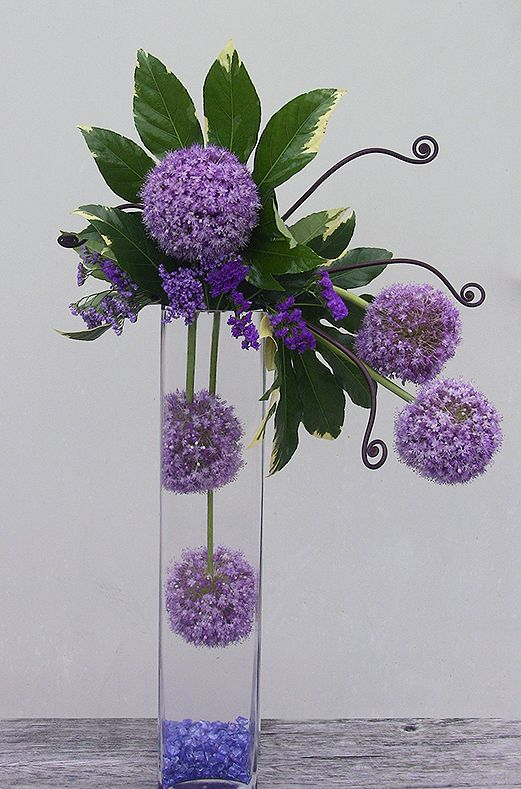 Purple Allium (the giant purple balls), purple statice (the smaller purple flower), variegated fatsia leaf (the green foliage) monkey tail fern shoots and blue colored glass in the bottom of a tall cylinder vase to simulate water. Everything in this hi-style arrangement is fresh flowers.