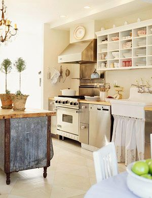 Vintage Kitchen Ideas - like block shelving area