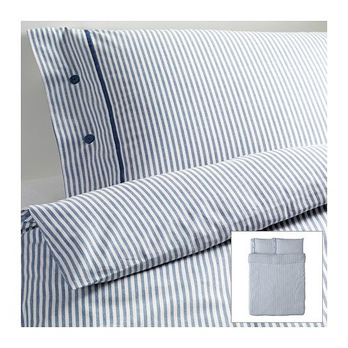 IKEA - NYPONROS, Duvet cover and pillowcase(s), Full/Queen (Double/Queen), , Yarn-dyed; the yarn is dyed before weaving; gives the bedlinens a soft feel.</t><t>Extra soft and durable quality since the bedlinen is densely woven from fine yarn.</t><t>Decorative, fabric-covered buttons keep the comforter and pillow in place.