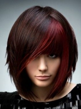 beautiful shoulder-length hair ~ love the cut & the color-streaking