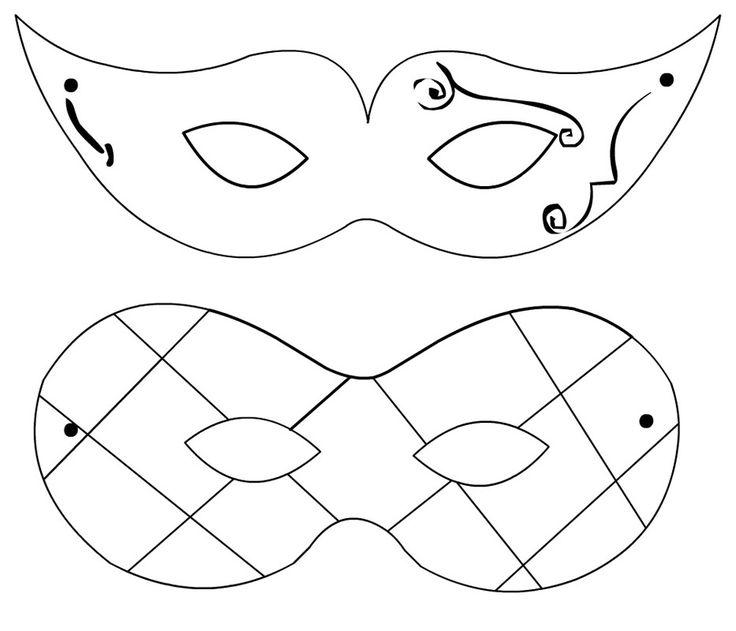MASCHERE DI CARNEVALE | Disegni di maschere di carnevale per decorare biscotti o torte
