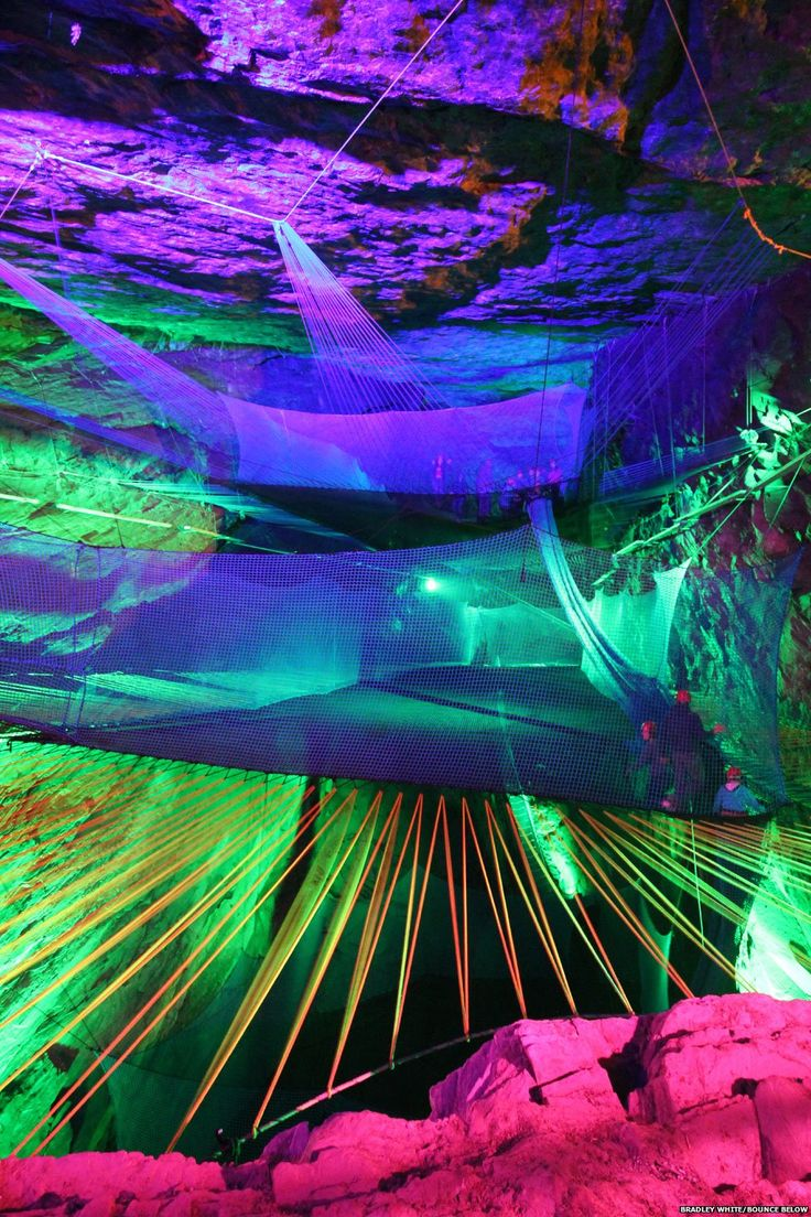 Already home to the world's longest zip-wire, now Blaenau Ffestiniog boasts what is believed to be the world's largest underground trampoline in the abandoned Llechwedd slate quarry.