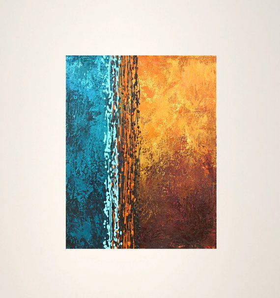 abstract original acrylic painting blue brown rust yellow modern art on canvas Intersection