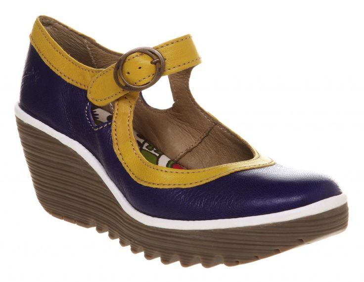 Fly London Yellow-Red Yori Mary Jane Blue/Yellow