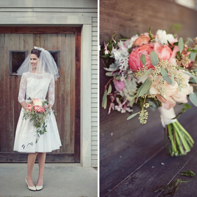 50's style vintage wedding dress. And the bouquet these 2 are perfect!!