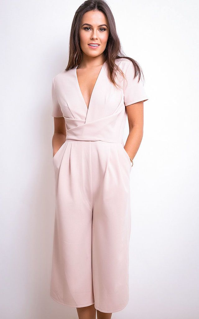 79b485f35357 Megan Short Sleeve Culotte Jumpsuit Nude by Girl In Mind