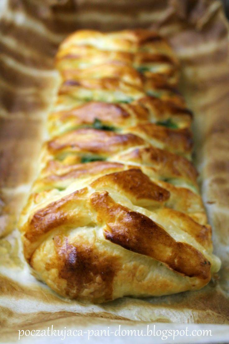 Początkująca pani domu: Warkocz z ciasta francuskiego nadziewany kurczakie...
