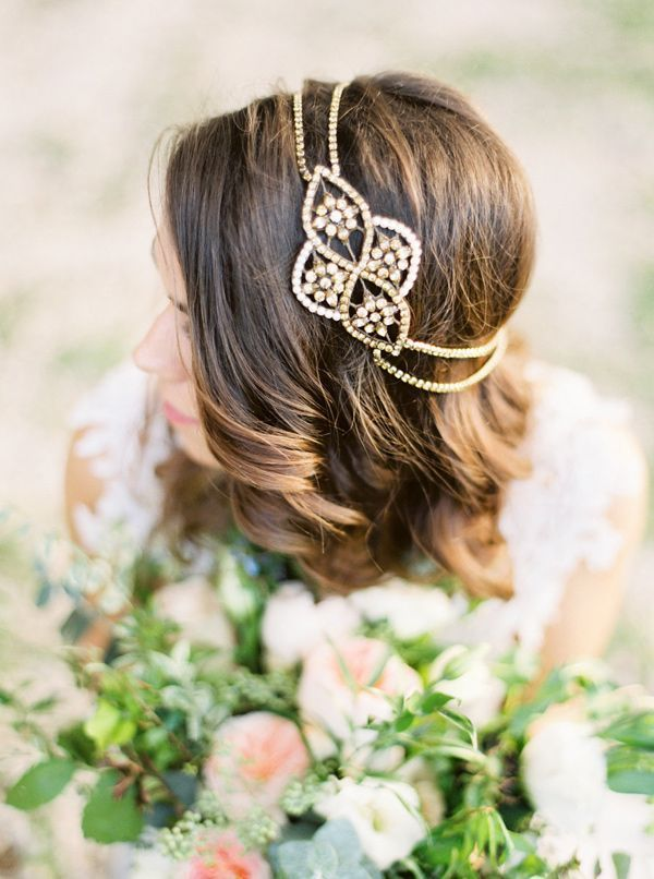 Elegant Wedding Hairstyle with Gold Hairpiece
