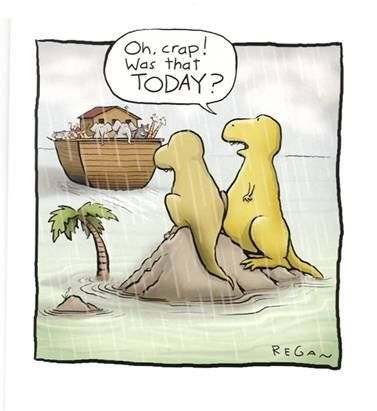 """Oh crap, was that today?"" by Dan Regan via climatebites.org: Thanks to @Nancy Dudgeon ! Go here for more. http://www.shoeboxblog.com/?cat=1921 #Illustration #Humor #Cartoon #Dan_Regan"