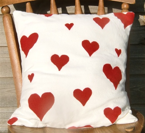 Red Hearts on Cream Linen Cushion with soft, wool filled cushion pad from lovely cotswold sheep, £48 - Happy Valentine's Day!