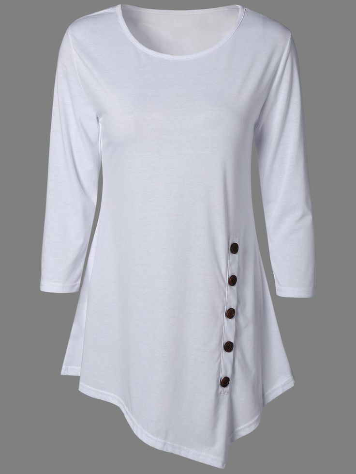 cool Stylish Pure Color Button Asymmetric Blouse... by post_link