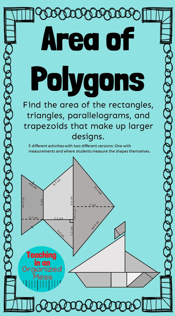 Students will find the area of rectangles, triangles, parallelograms, and trapezoids that make up larger designs. 5 different pictures with 2 version of each one--one where measurements are given and one where students measure the shapes themselves.