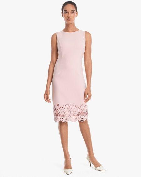 Sleeveless Embroidered-Hem Sheath Dress