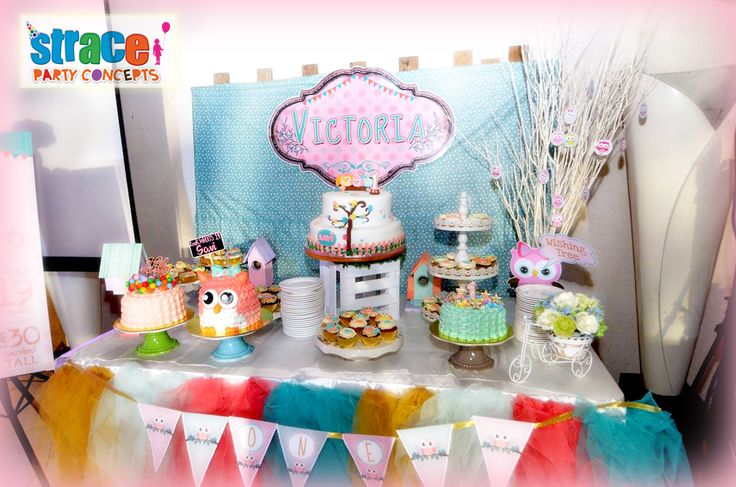 Owl Party Set-up by Strace Party Concepts: Cake and Sweets Table Set-up