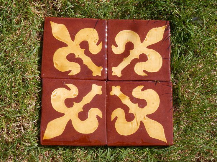 Medieval fleur-de-lys - inlaid tiles by Tanglebank Tiles