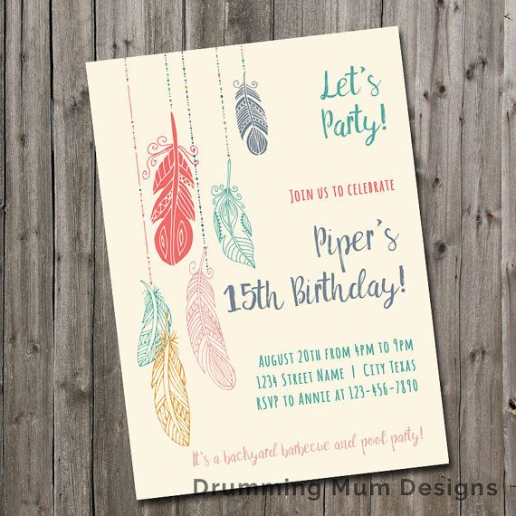 Boho Feather Teen Girl Birthday Party Invitation | Girl Swim Pool Party Birthday…