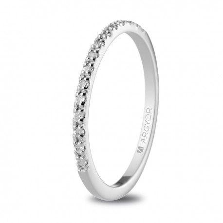 Anillo de diamantes en oro blanco 18k