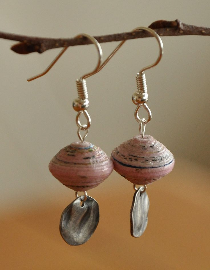 Small pink round paper bead earrings with steel drops - paper bead jewelry. $11.00, via Etsy.